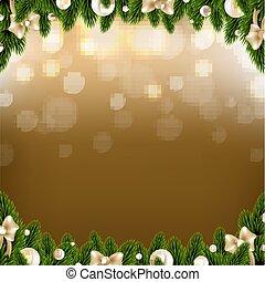 ボール, クリスマス, ボーダー, 金 背景