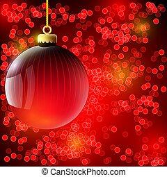 ボール, クリスマス, 背景, 赤