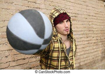 ボール, グランジ, プレーヤー, 通り, brickwall, バスケット