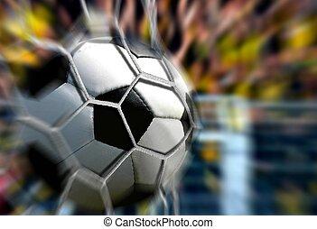 ボール, ゴール, 早送り, ぼやけ, 網