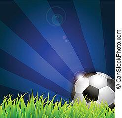 ボール, サッカー, 草, 背景