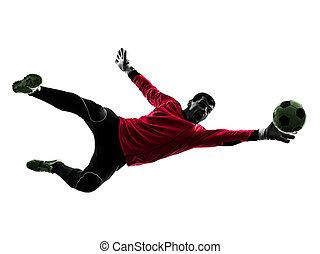 ボール, シルエット, プレーヤー, 捕獲物, サッカー, ゴールキーパー, 人