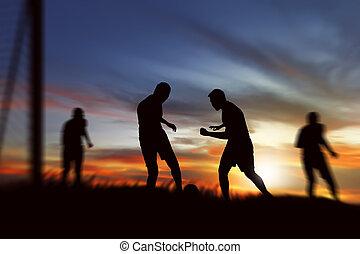 ボール, シルエット, プレーヤー, 準備ができた, サッカー, 蹴り