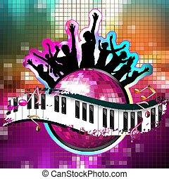 ボール, ダンス, キー, ディスコ, シルエット, ピアノ