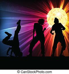 ボール, ダンス, ディスコ, シルエット, ベクトル, 背景