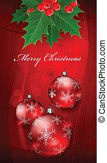 ボール, &, テキスト, ベリー, 西洋ヒイラギ, クリスマス, 赤