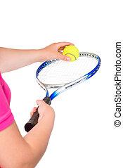 ボール, テニス, の上, 背景, ラケット, 終わり, 白