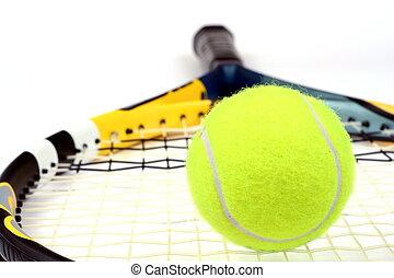 ボール, テニス, の上, 隔離された, ラケット, 終わり, 白