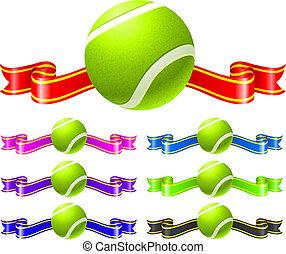 ボール, テニス, セット, リボン