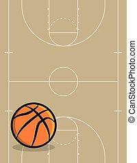ボール, バスケットボールコート, 背景, イラスト