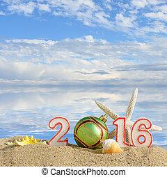 ボール, ヒトデ, 印, 砂, 貝殻, 年, 新しい, 2016, 浜, クリスマス
