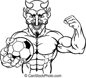 ボール, フットボール, スポーツ, 悪魔, 保有物, サッカー, マスコット