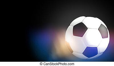 ボール, フットボール, レンダリング, 黒い背景, サッカー, 3d