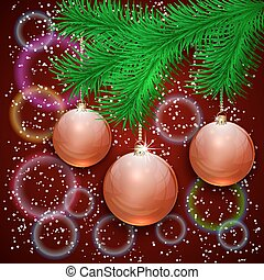 ボール, ブランチ, 木, イラスト, bokeh, ベクトル, 背景, クリスマス