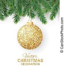 ボール, ブランチ, 木, ベクトル, 背景, 掛かること, きらめき, クリスマス
