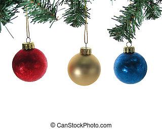 ボール, ブランチ, isolated., 木, 3, 装飾, クリスマス