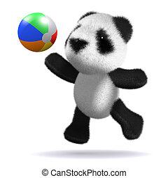 ボール, プレーする, 熊, 赤ん坊, 浜, パンダ, 3d