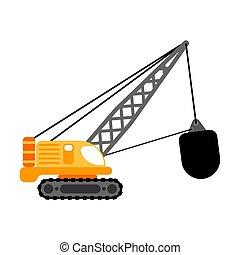 ボール, ベクトル, 破壊, isolated., イラスト, 建設機械, クレーン