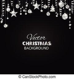 ボール, ボーダー, 花輪, お祝い, きらめき, 祝祭, 光っていること, クリスマス, 掛かること, ...