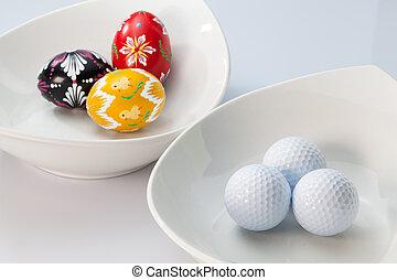 ボール, ボール, セラミックス, ゴルフ, 卵, 白