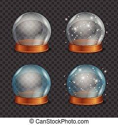 ボール, マジック, set., 水晶, ベクトル, 空