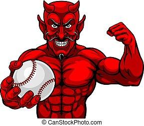 ボール, マスコット, 野球, 悪魔, スポーツ, 保有物