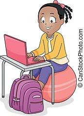 ボール, ラップトップ, イラスト, 女の子, 練習, 子供