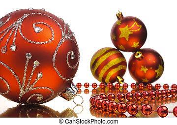 ボール, 上に, 隔離された, 背景, 白い クリスマス, 赤