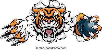 ボール, 保有物, 壊れる, tiger, 背景, ボウリング