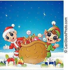 ボール, 冬, 贈り物, 妖精, 箱, 背景, 漫画, 子供