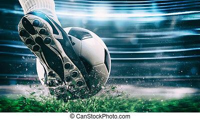 ボール, 力, フットボール, 現場, の上, ヒッティング, 靴, 夜, 終わり, サッカーマッチ