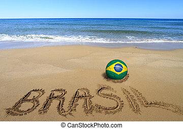 """ボール, 単語, """"brasil"""", 旗, 書かれた, ブラジル人, サッカー, 浜"""