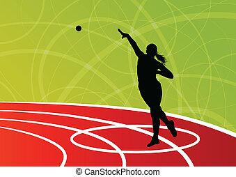 ボール, 女, 打撃, 投げる, パター, イラスト, シルエット, ベクトル, 背景, 活動的, 運動競技,...