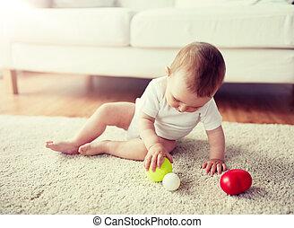 ボール, 床, 赤ん坊, 家, 遊び, 幸せ