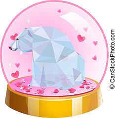 ボール, 愛, ロマンチック, 水晶, 隔離された, 熊, バックグラウンド。, ベクトル, poly, illustration., 心, 白, ガラス, ball., 低い