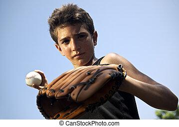 ボール, 投げる, スポーツ, 野球, 子供, 肖像画, 子供