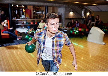 ボール, 投げる, 若い, クラブ, ボウリング, 人, 幸せ