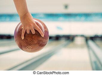 ボール, 投げる, club., ボウリング, 手, woman's