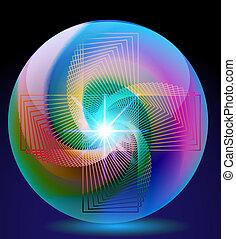 ボール, 抽象的, ネオン, ガラス, 背景, きらめき