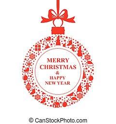 ボール, 挨拶, クリスマスカード, 赤