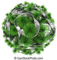 ボール, 木の上, -, 隔離された, クリスマス, 飾られる, 白, 銀, リボン, 光景