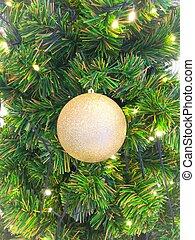 ボール, 木, 松, 金, クリスマス