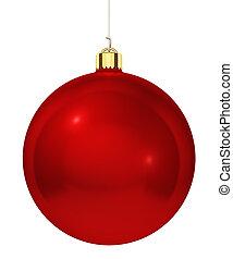 ボール, 木, 隔離された, 装飾, バックグラウンド。, 白い クリスマス, 赤