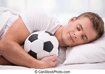 ボール, 毛布, 若い, 下に, 柔らかい, あること, 人