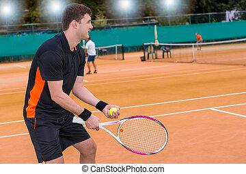 ボール, 法廷, ライト, テニスプレーヤー, 背景, 粘土, 準備ができた, マレ, 投球