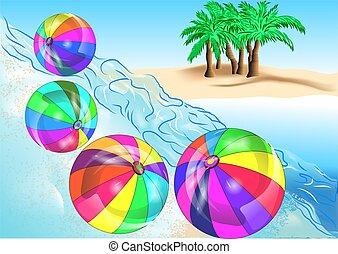ボール, 浜, 海岸