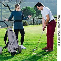 ボール, 準備, スティック, ゴルファー, 打つこと