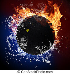 ボール, 炎, 火, はねかけること, スカッシュ, 水