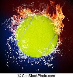ボール, 炎, 火, はねかけること, テニス, 水