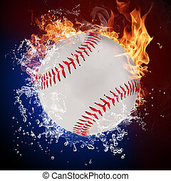 ボール, 炎, 火, はねている水, 野球